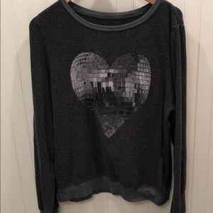 Wildfox heart disco ball sweatshirt (large)